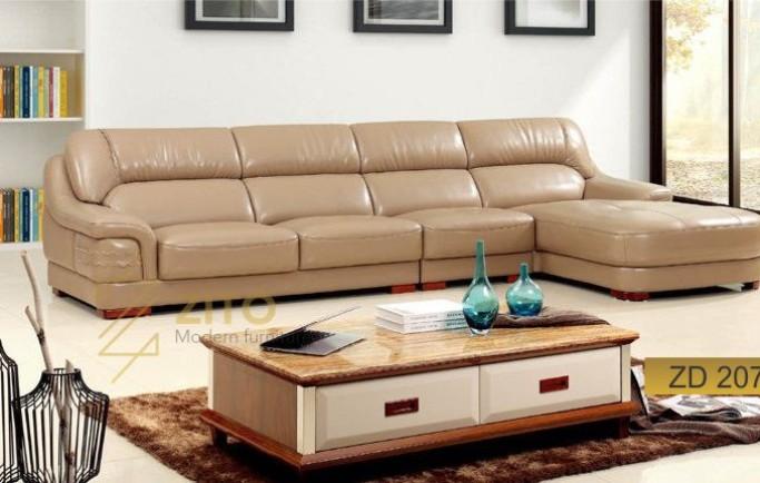 Không gian phòng khách sang trọng với sofa da của Nội Thất Zito