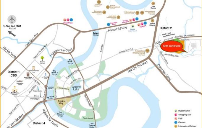Vị trí vàng của lá phổi xanh dự án căn hộ Gem Riverside Đất Xanh Q2